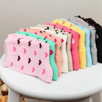 赛棉5双装经典爱心中筒女袜棉袜