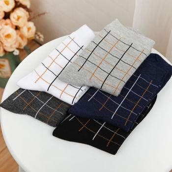 赛棉 5双装休闲方格中筒男袜棉袜