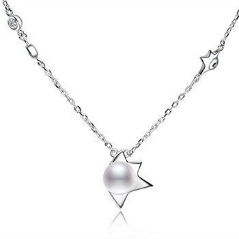 漂亮百合 925银镶珍珠项链星辰