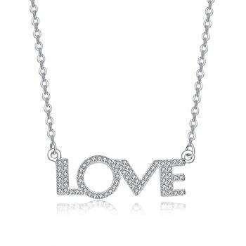 S925银LOVE 镶锆石锁骨项链闪耀气质百搭
