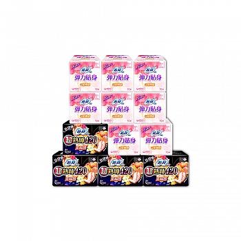 日本•苏菲SOFY 弹力贴身纤巧日用10片*8包+超熟睡柔棉感夜用420 4片*4包