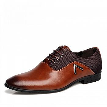 中国•承发商务英伦尖头皮鞋 暗棕色