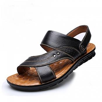 中国•夏季男士真皮透气休闲凉鞋 黑色