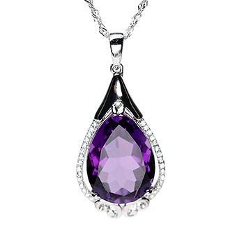 浪漫神秘紫水晶水滴形吊坠