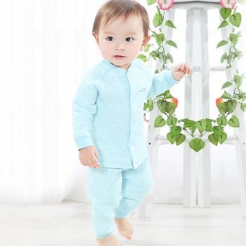 中国•优奇 新生儿秋装保暖套装 蓝
