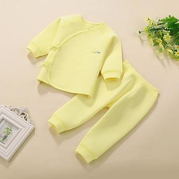 中国•优奇新生儿秋装保暖绑带套装黄