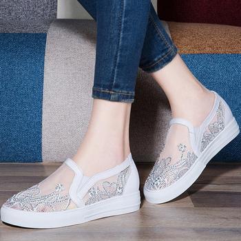 防水台纱网女鞋子