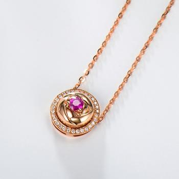 今上珠宝 18k金红宝石镶钻吊坠