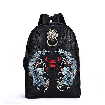 初弎中国风双龙戏珠刺绣双肩包