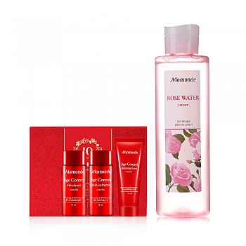 韩国•梦妆(mamonde)蔷薇舒缓润肤水 250ml  4件套组