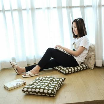 中国•oasso九宫格坐靠两用棉麻垫子-2只