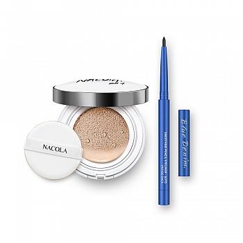 NACOLA出行基础彩妆2件组(象牙色气垫BB+黑色眼线笔)