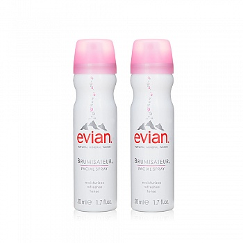依云 (Evian)天然矿泉水喷雾50mlx2便携分享套装