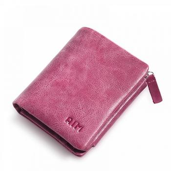 AIM男女短款钱包新款真皮零钱包