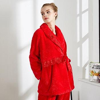 中国•芬腾冬季女珊瑚绒系带家居服套装
