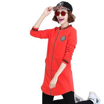 中国•冬款开衫学院风中长款卫衣桔红