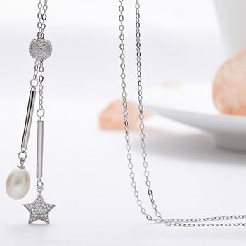 漂亮百合 925银珍珠长项链毛衣链星星珍珠项链