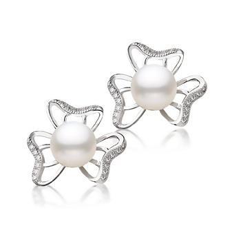 漂亮百合 925银镶珍珠耳钉 花韵美