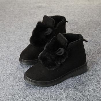 娅莱娅英伦风马丁靴女棉鞋黑色