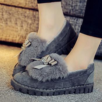 娅莱娅冬季蝴蝶结豆豆鞋棉鞋L02