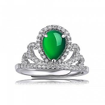 中国•925银为爱加冕王冠开口戒指