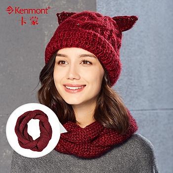 中国•kenmont冬百搭保暖纯色羊毛围巾1847