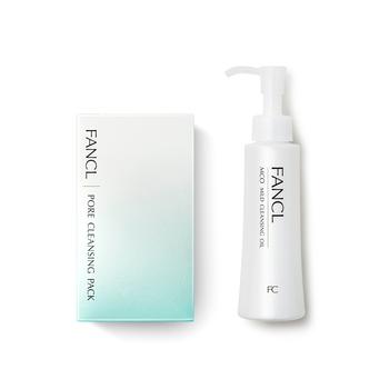 日本•FANCL净透清洁套组(卸妆液120ml+黑头洁净软膜5gx8包)