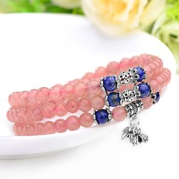 中国•莲花 青金石配草莓晶手串