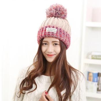 中国•混色贴标保暖毛线帽子