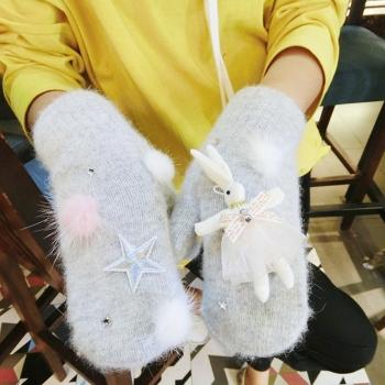 中国•恋爱系兔子保暖连指手套1双
