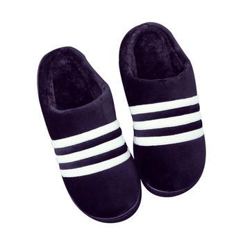 oasso条纹保暖棉拖鞋(情侣款)
