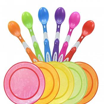 美国•满趣健餐具套装(6个婴儿软头勺+5色盘)