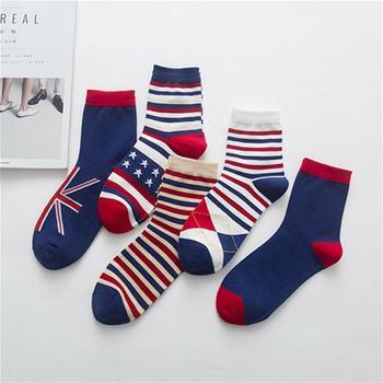 赛棉彩条国旗中筒男袜棉袜5双装