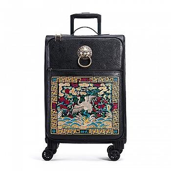 中国•初弎潮牌仙鹤刺绣20寸拉杆行李箱