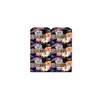 日本•苏菲SOFY超熟睡350柔棉感纤巧夜用超大蝴蝶扇尾4片*6包