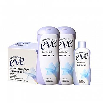 美国•夏依Summer's Eve女性专用洗液(敏感肌肤)119ml*2+敏感肌肤59ml+女性清洁湿巾(敏感肌肤)16片