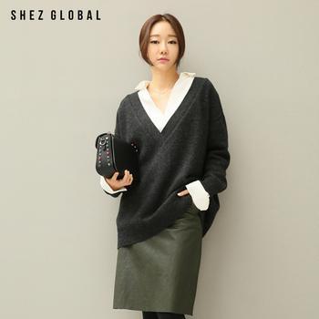 中国•韩版SZ宽松v领长袖针织衫毛衣女