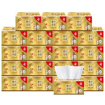 清風原木金裝抽紙3層120抽20包加厚加韌