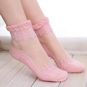 赛棉 5双装蕾丝边透明?#35759;?#34972;女袜