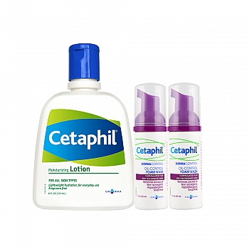 加拿大•丝塔芙(Cetaphil)净润焕肤套装(润肤乳237ml+泡沫控油洁面50ml*2)