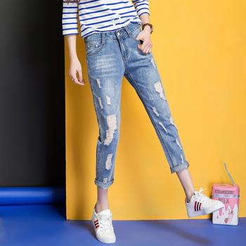 中国•时尚牛仔九分裤W7201宽松阔腿裤