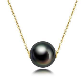今上珠宝 18k金海水黑珍珠吊坠