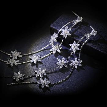 戴拉 s925银针花朵流苏长款耳环时尚个性潮人装饰耳饰
