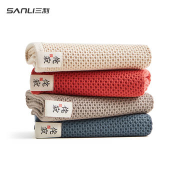 三利纯棉纱布毛巾2条装 华夫格成人日式洗脸巾两条装
