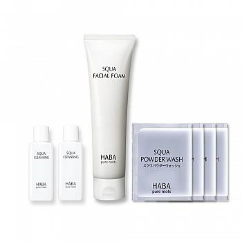 日本•HABA 鲨烷保湿洁面乳 100g 7件套组