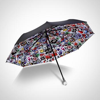 中国•德国iRain三折黑色幽默水晶太阳伞