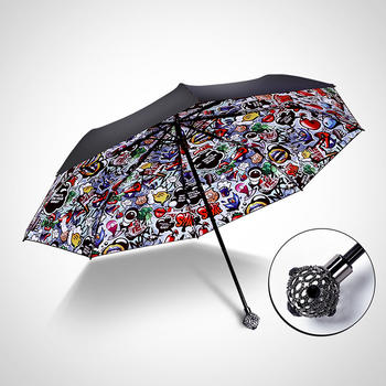 德国iRain三折黑色幽默水钻太阳伞
