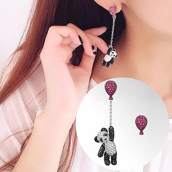 中国•IKEWA不对称小熊猫气球耳钉