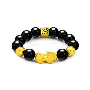今上珠宝 转运珠貔貅黄金手链12mm