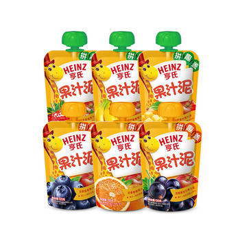 亨氏果汁泥6种口味6袋